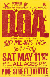 DOA / Nomeansno Pine Street Theatre Concert Poster Signed by Designer Mike King (1985)