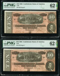 Confederate Notes:1864 Issues, T68 $10 1864 Four Consecutive Examples PMG Choice Uncirculated 63 EPQ; Uncirculated 62 EPQ (3).. ... (Total: 4 notes)