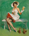 Pin-Up and Glamour Art, Gil Elvgren (American, 1914-1980). Squirrely Situation, calendar illustration, 1969. Oil on...