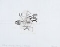 Works on Paper, Barry Le Va (1941-2021). Silent Diagram Reading (3 Layers), 2008. Pencil, ink, and tape on graph paper. 17 x 22 inches (...