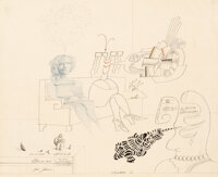 Saul Steinberg (1914-1999) Conversation (Three Women), 1968 Ink and pencil on paper 21 x 25 inche