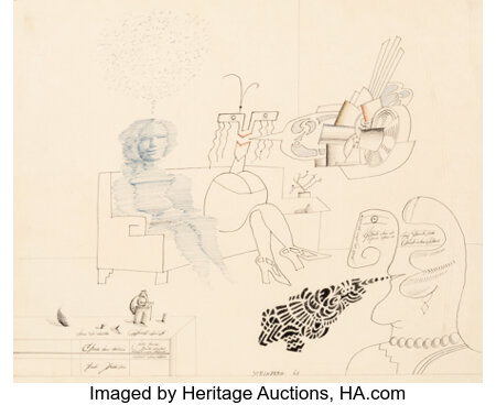 Saul Steinberg (1914-1999) Conversation (Three Women), 1968 Ink and pencil on paper 21 x 25 inches (53.3 x 63.5 cm) ...