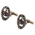Estate Jewelry:Cufflinks, Antique Diamond, Ruby, Seed Pearl, Silver-Topped Gold Cuff Links . ...