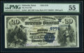 National Bank Notes:Iowa, Oelwein, IA - $20 1882 Value Back Fr. 581 The First National Bank Ch. # (M)5778 PMG About Uncirculated 55.. ...