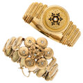 Estate Jewelry:Bracelets, Victorian Diamond, Seed Pearl, Mother-of-Pearl, Gold Bracelets. ... (Total: 2 Items)