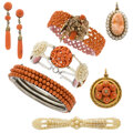Estate Jewelry:Lots, Victorian Diamond, Coral, Seed Pearl, Gold, Silver, Yellow Metal Jewelry. ... (Total: 7 Items)