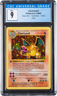 Pokémon Charizard #4 First Edition Base Set Trading Card (Wizards of the Coast, 1999) CGC Mint 9