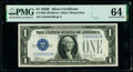 Fancy Serial Number 15555553 Fr. 1605 $1 1928E Silver Certificate. PMG Choice Uncirculated 64
