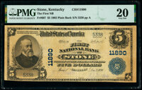 Stone, KY - $5 1902 Plain Back Fr. 607 The First National Bank Ch. # 11890 PMG Very Fine 20