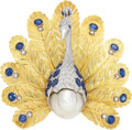 Estate Jewelry:Brooches - Pins, Sapphire, Diamond, South Sea Cultured Pearl, Gold Pendant-Brooch . ...