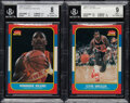 Basketball Cards:Lots, 1986 Fleer Basketball Collection (65) Plus Five Sticker Cards....