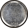 """INCO 25 cent planchet. Brilliant Uncirculated. 1964-65. RB-6060. """"53-14 60/40"""" is engraved on the piece. 5.72..."""