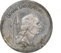 (1977-78) Gould $1. MS62 NGC. RB-1500. 3.24 g. Aluminum. The surfaces fade from light to dark gray with several spots, e...