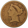 1872-CC $5 AG3 PCGS. PCGS Population: (3/118 and 0/0+). NGC Census: (0/71 and 0/0+). Mintage 16,980. ...(PCGS# 8326)