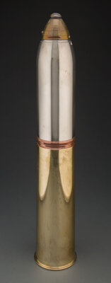 Gorham Manufacturing Co. (American, est. 1831) Artillery Shell-Form Cocktail Shaker, circa 1918 Brass, nickel-plated b...