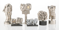 Miguel Berrocal (Spanish, 1933-2006) Six Mini Puzzle Sculptures with Instruction Books, circa 1970 Nickel plated metal...