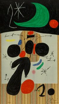 Joan Miró (1893-1983) Interior et Nuit, 1969 Lithograph in colors on wallpaper 37-1/2 x 21-1/2 inches (95.3 x 54...