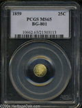California Fractional Gold: , 1859 Liberty Round 25 Cents, BG-801, R.3, MS65 PCGS. ...