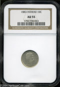 Coins of Hawaii: , 1883 Hawaii Ten Cents AU55 NGC. ...