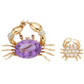 Estate Jewelry:Brooches - Pins, Diamond, Ruby, Amethyst, Opal, Gold Brooches. ... (Total: 2 Items)