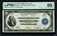 Low Serial Number B75A Fr. 750 $2 1918 Federal Reserve Bank Note PMG Gem Uncirculated 66 EPQ