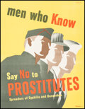 """Movie Posters:Miscellaneous, Propaganda Poster (VDgraphic - 3, 1942). Very Fine+. Poster (11"""" X 14""""). """"Men Who Know Say NO to Prostitutes."""" Ferree Artwor..."""