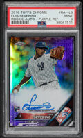 Baseball Cards:Singles (1970-Now), 2016 Topps Chrome Luis Severino Rookie Autograph (Purple Refractor) #RA-LS PSA Mint 9 - Serial Numbered 141/250. ...