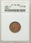 Proof Indian Cents, 1887 1C PR63 Brown ANACS. Mintage 2,960. . From The Toro Collection....