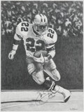 Autographs:Others, Emmitt Smith Signed Print. ...