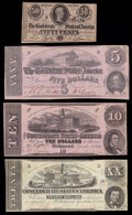 Confederate Notes:1864 Issues, T51 $20 1862 Extremely Fine;. T52 $10 1862 Extremely Fine;. T53 $5 1862 Extremely Fine;. ...