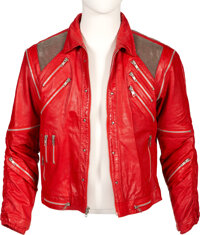 """Michael Jackson Signed Personal Red Leather """"Beat It"""" Jacket Worn at Madison Square Garden During His Bad &..."""