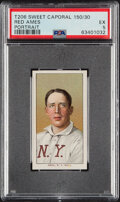 Baseball Cards:Singles (Pre-1930), 1909-11 T206 Sweet Caporal 150/30 Red Ames (Portrait) PSA EX 5. ...