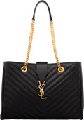 """Luxury Accessories:Bags, Saint Laurent Black Chevron Quilted Leather Tote Bag. Condition: 3. 14"""" Width x 10"""" Height x 4.5"""" D..."""
