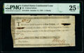 Colonial Notes:Continental Congress Issues, Continental Congress Loan Federal Indent October 11, 1787 $2 Anderson 174 PMG Very Fine 25 Net.. ...