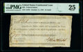 Colonial Notes:Continental Congress Issues, Continental Congress Loan Federal Indent October 11, 1787 $25 Anderson 181 PMG Very Fine 25.. ...