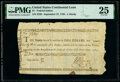 Colonial Notes:Continental Congress Issues, Continental Congress Loan Federal Indent September 27, 1785 $1 23/90ths Anderson 165 PMG Very Fine 25.. ...