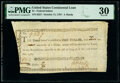 Colonial Notes:Continental Congress Issues, Continental Congress Loan Federal Indent October 11, 1787 $1 10/90ths Anderson 173 PMG Very Fine 30.. ...