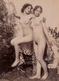 Photographs, Guglielmo von Pluschow (German, 1840-1930). Two Nude Young Women on Leopard Skin-Covered Chair, 1890s. Albumen print. 9 ...