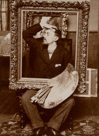 Unknown Artist (19th Century) Portrait of Eugene Favier with Palette and Frame, 1897 Gelatin silver chloride print 6-
