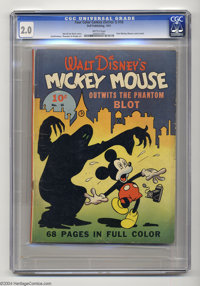 "Four Color (Series One) #16 - Mickey Mouse (Dell, 1941) CGC GD 2.0 Brittle pages. ""Mickey Mouse Outwits the Phantom..."