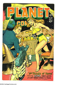 """Planet Comics #50 (Fiction House, 1947) Condition: VF+. """"Headlight"""" cover. Murphy Anderson, George Evans art..."""