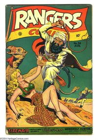 Rangers Comics #36 (Fiction House, 1947) Condition: VG-. Violent whipping cover. Glory Forbes by Matt Baker, Tiger Man b...