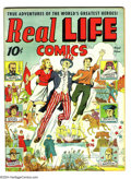 Golden Age (1938-1955):Non-Fiction, Real Life Comics #1 (Nedor Publications, 1941) Condition: VG-.Uncle Sam cover by Alex Schomburg. Has a big water stain thro...