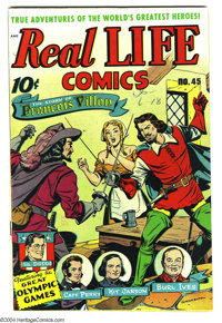 Real Life Comics #45 (Nedor Publications, 1948) Condition: VF/NM. Alex Schomburg cover. Story of the Olympic games. Burl...
