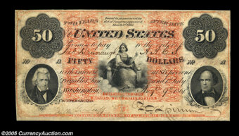 Featured item image of Fr. 202a $50 1861 Interest Bearing Note Very Fine....