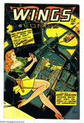Golden Age (1938-1955):Science Fiction, Wings Comics #87 (Fiction House, 1947) Condition: VF+. Bob Lubberscover art. Overstreet 2003 VF 8.0 value = $115; VF/NM 9.0...