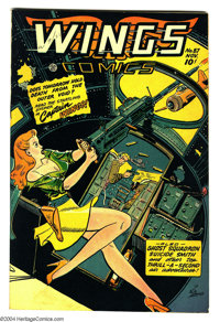 Wings Comics #87 (Fiction House, 1947) Condition: VF+. Bob Lubbers cover art. Overstreet 2003 VF 8.0 value = $115; VF/NM...