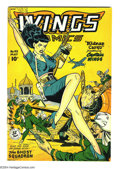 Golden Age (1938-1955):War, Wings Comics #93 (Fiction House, 1948) Condition: FN+. Front looksVF/NM, back cover has silver fish chews and crease. Overs...