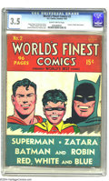 Golden Age (1938-1955):Superhero, World's Finest Comics #2 (DC, 1941) CGC VG- 3.5 Slightly brittle pages. Formerly World's Best Comics. Fred Ray cover. Je...