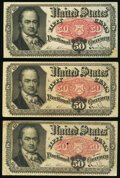 Fractional Currency:Fifth Issue, Fr. 1380 50¢ Fifth Issue Three Examples Fine-Very Fine or Better.. ... (Total: 3 notes)